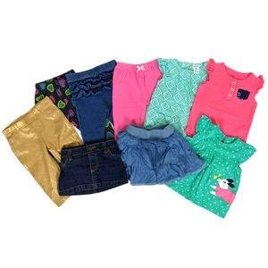 Baby Girl Lot of 9 Pieces Pants Skirts Tops